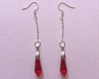Red Ruby Dangly Glass Teardrop Crystal Pendant Earrings