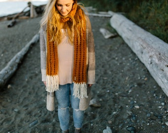 BUTTERSCOTCH - THE WESTWOOD scarf - Fringe Scarf - Winter Scarf