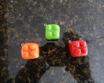 Lego brick  polymer clay charms