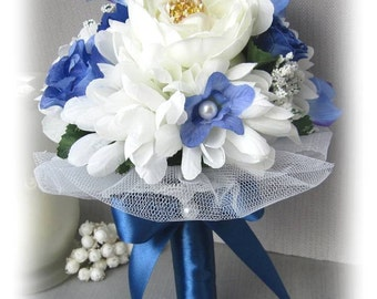 Handmade blue and white bridal bouquet perennial flowers fabric