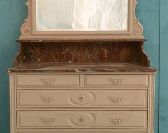 Marble Top Original Vintage Ivory Painted Dressing Chest