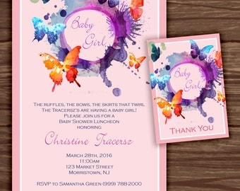 Butterfly Baby Shower: Babyshower Invitation Suite;     Print at Home Invitations