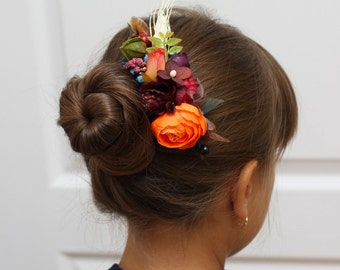 Flower comb Hair comb Flower accessory Wedding flower comb Bridesmaid floral comb Fall wedding Floral accessories Fall flower comb