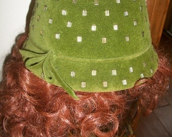 Vintage 1960's Noreen Green Velvet Fedora/Cloche Fashion Hat. Embellished With Ornate Silver Studs. Made In Italy.