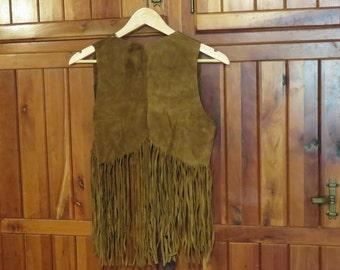 Vintage 1960's Leather Fringe Vest - Size Small