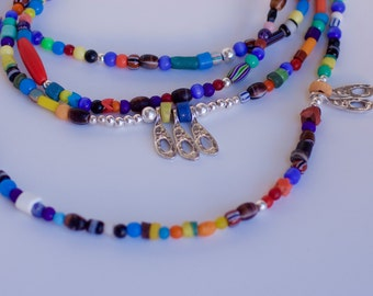 Necklace summer colorful and cheerful, extra long