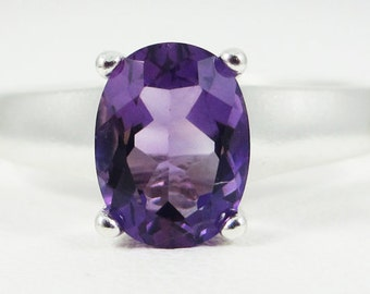 Amethyst Oval Ring Sterling Silver