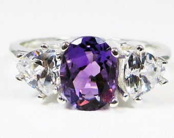 Amethyst and CZ Three Stone Ring Sterling Silver