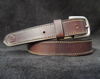 Leather belt stitched hand / handstiched leather belt