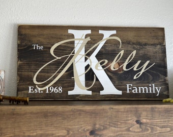 Metalic Gold and White Custom Painted Family Name Sign on Small Stained Wood Rustic Pallet Established Establishment
