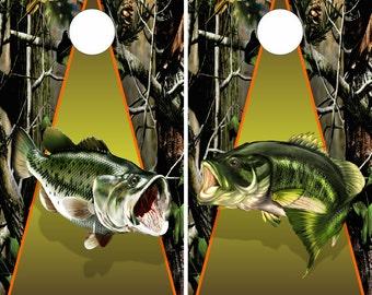 Bass Fishing Camo LAMINATED Cornhole Wrap Bag Toss Decal Baggo Skin Sticker Wraps