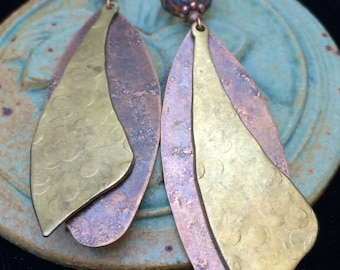 Hammered copper and brass earrings