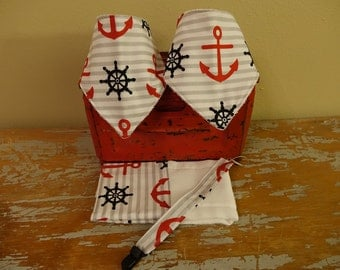 Sailor inspired bibdanna set with burp cloth and pacifier holder