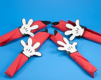 Mickey Mouse Napkins Rings - Mickey Mouse Hands - Napkin Rings - QTY 12 Mickey Mouse Hand Napkin Rings