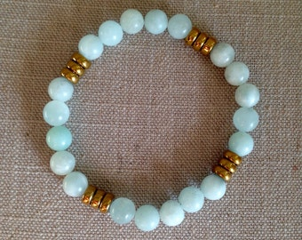 Blue/Gold Beaded Bracelets (Set of 3)