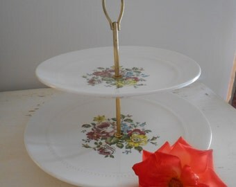 Vintage French 'Luneville' 'Shabby Chic' Two Tier Cake Stand.