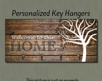 Wedding Gift, Welcome to Our Home, Anniversary Gift, Home Decor, Housewarming Gift, New Home, Key Holder, Key Hanger