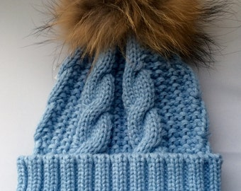 Baby Blue Real Fur Pom Pom Cable Beanie 100% Wool Winter Bobble Hat