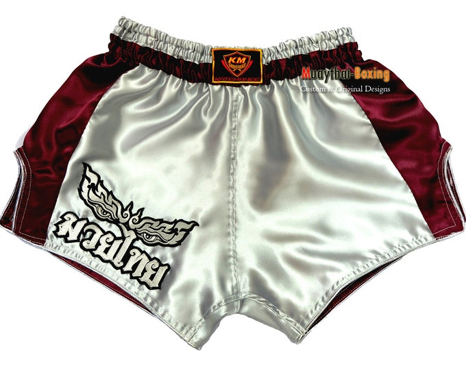 Muay Thailand Boxing Shorts Low-Waist Fit Retro Style - WHITE/PURPLE
