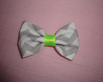 Grey, White and Lime Green Hair Bow