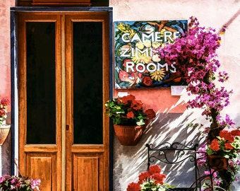 Cinque Terre Italy, Hotel Rooms,  Riomaggiore Hotel, Pink Building, Colorful Flowers, Brown Wooden Door, Tricycle, Wall Decor,Art Print