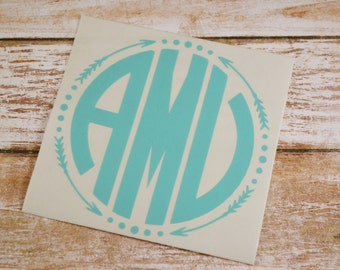 Arrow Monogram Decal, Monogram Sticker, Yeti Decal, Monogram Yeti Decal, Car Decal, Phone Decal, Macbook Decal, Car Sticker, Aztec Decal