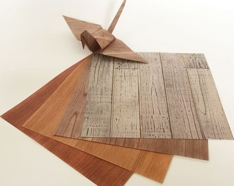 Origami Paper Sheets - Wood Pattern Print Paper - 48 sheets