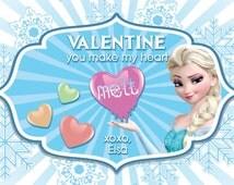 Frozen Valentine's Day Card, 4 x 6 printable Elsa Valentine's Day Card, Kids Personalized Valentine
