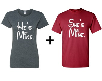 He's Mine and She's mine couples clothing, gift for her, gift for him