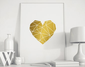 Heart, gold wall art, Heart gold, Heart Print gold, Heart geometric, Heart home print, Heart art, gold Heart, minimalist art, gold decor