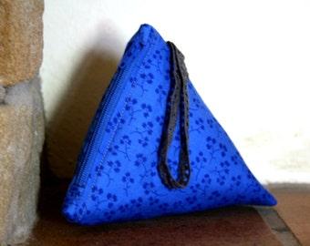 Blue Pyramid Coin Purse, Flower Penny Purse