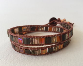 Macrame 2-wrap beaded bracelet