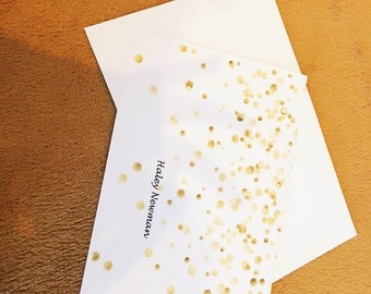 Personalized Gold Confetti Card/Stationary