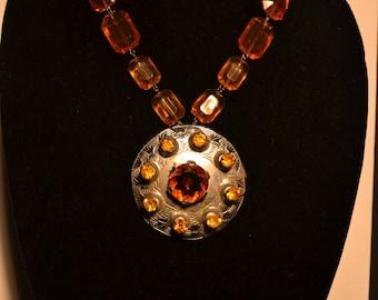 Vintage amber glass Kilt pin  (#35)
