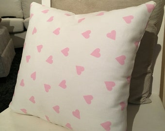 Pink hearts cotton cushion