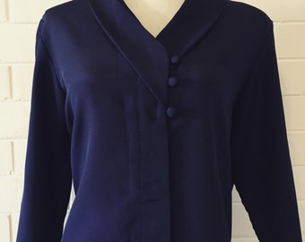 Navy Retro Blouse