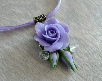 Purple rose necklace pendant handmade, polymer clay necklace, flower necklace, realistic flower necklace