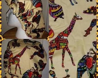 African Print Bonnet