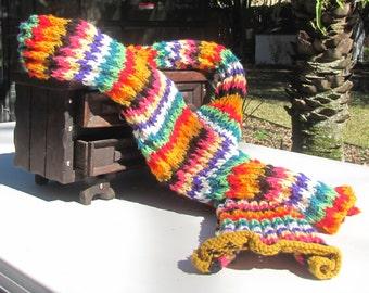 Rainbow Knit Scarf