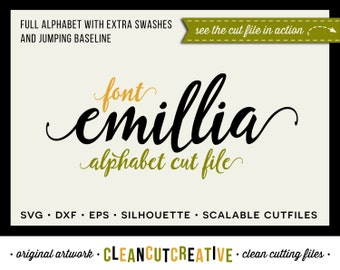 Full Alphabet SVG Fonts Cutfile - Fun Modern Script cricut font - Studio3 DXF EPS Silhouette Cameo - commercial clean cutting digital files