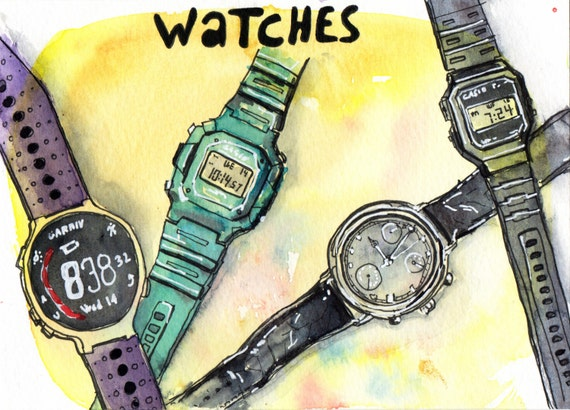 Watches - Pen and Watercolour Painting