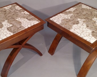 Set of 2 Mosaic Stone Sun End Tables,modern end table,night stand,mosaic table,handmade,sun mosaic,sofa table,koa,coffee table,end table