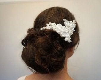 Lace appliqué embellished bridal headpiece, Wedding lace appliqué embellished headpiece, Lace bridal headpiece, lace wedding hair accessory