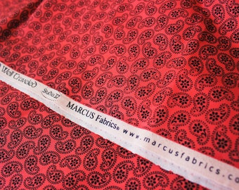 Cotton Fabric, Paisley Fabric, Marcus Fabric, Bold Red Base, Black Paisley, Small, Sewing Material Half Metre