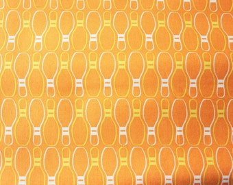 FREE SHIPPING PROMOTION Andover Fabric / Premium Cotton / Bowling Pins / Orange Yellow Design by Thomas Knauer / Half Metre