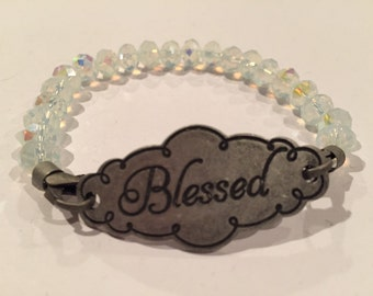 Blessed stretchy irridescent crystal colored bracelet