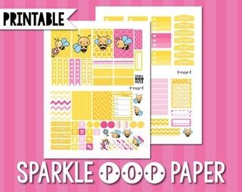 Sugar Pie Honey Bee Printable Weekly Layout Happy Planner Stickers