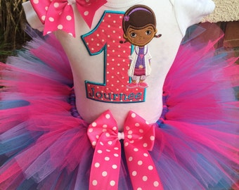 Doc McStuffins Birthday Party Tutu Outfit Dress Set Handmade 1st 2nd 3rd
