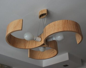 Swirl Chandelier made of bent plywood