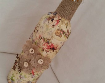 Country Garden Decoupage  Bottle